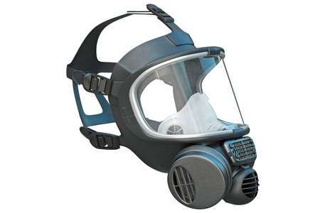 Safety pro mask rubber on locks protection from biohazard. 3D graphic Stock fotó