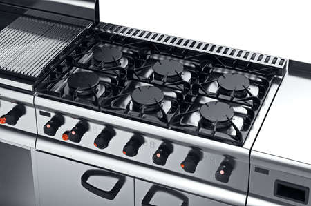 Kitchen equipment modern professional stove, close view. 3D graphic