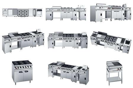 acier équipement de cuisine chrome Ensemble pour la cuisson. graphique 3D
