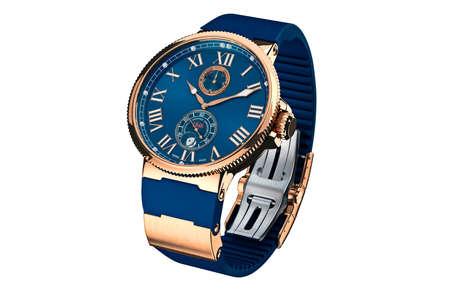 wrist strap: Wrist watch modern gold strap. 3D graphic