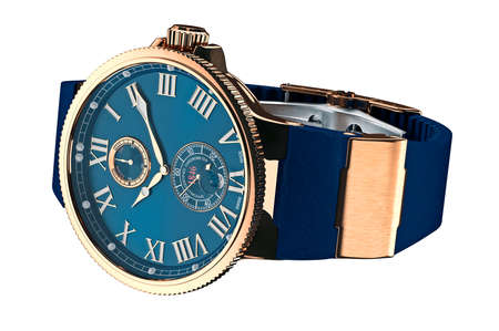 Wrist watch classic gold mechanical on strap. 3D graphic Stock Photo