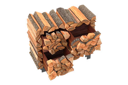 ethno: Wood cabinet chopped logs ethno style. 3D graphic