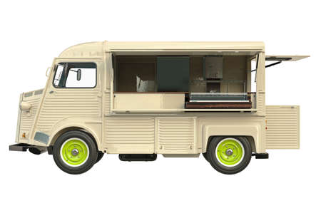 Food truck beige eatery with open doors, side view. 3D graphic Stock Photo