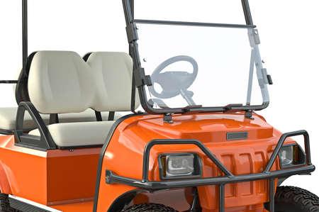 golfing: Golf car orange golfing equipment, close view. 3D graphic