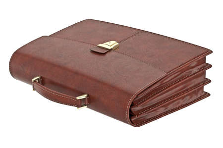 portmanteau: Classic leather brown briefcase for business. 3D graphic