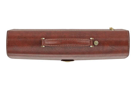 portmanteau: Classic leather briefcase with handle, top view. 3D graphic