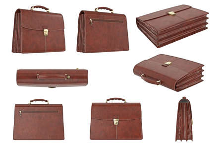 portmanteau: Briefcase classic brown set with handle. 3D graphic