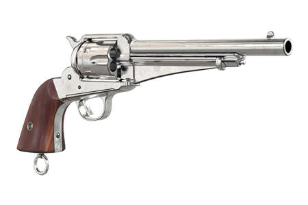 antiquities: Gun cowboy chrome revolver with wood handle. 3D graphic