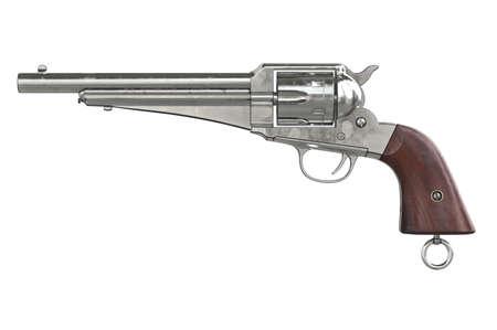 antiquities: Gun cowboy retro weapon, side view. 3D graphic