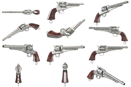 antiquities: Gun cowboy revolver with wood handle set. 3D graphic