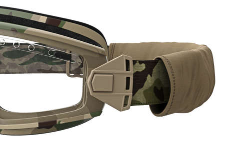 straps: Military goggles, eyeglass camouflage protection, close view. 3D graphic Stock Photo