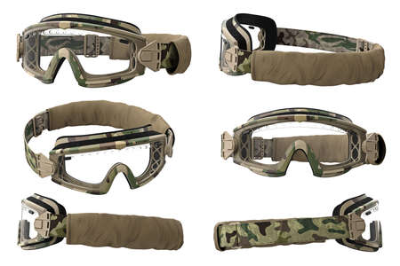 eyewear: Military goggles, eyeglass camouflage protection set. 3D graphic Stock Photo