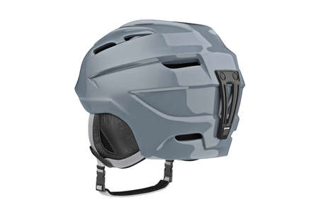 safely: Snowboard helmet gray sportswear equipment. 3D graphic