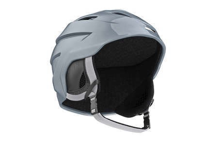 safely: Snowboard helmet gray winter sport accessory. 3D graphic Stock Photo