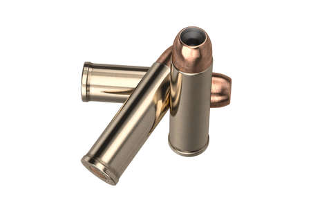 caliber: Bullet gun caliber for hunting and protection. 3D graphic Stock Photo
