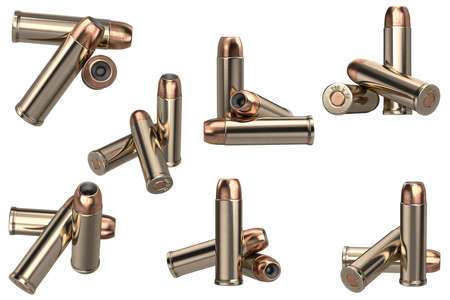 Bullet gun ammunition of shiny metal set. 3D graphic