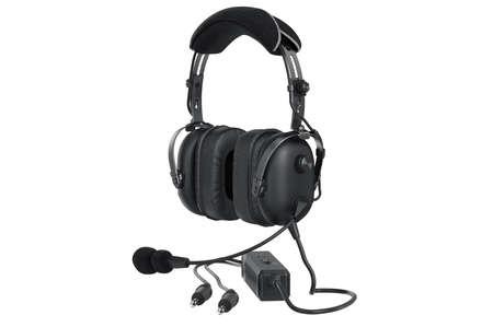 Headphones black matted aviation digital. 3D graphic