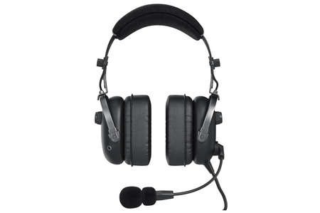matted: Headphones audio device, front view. 3D graphic Stock Photo