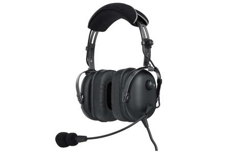 matted: Headphones aviation black matted equipment. 3D graphic