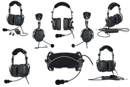 matted: Headphones aviation black matted aviation set. 3D graphic