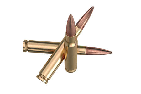 Bullet rifle weapon with round shell. 3D graphic