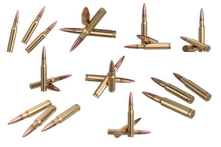 Bullet rifle metal ammo set. 3D graphic Stock Photo