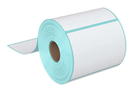 roll paper: Roll stack label for print barcode. 3D graphic