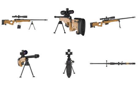 Rifle sniper gun black metal set. 3D graphic