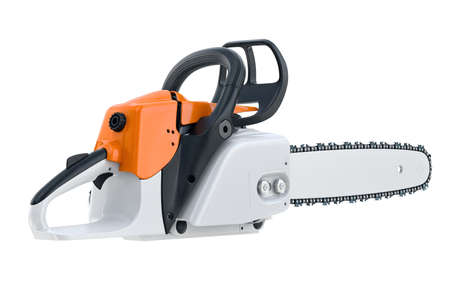 Chainsaw gasoline engine with black plastic handle. 3D rendering Stock Photo