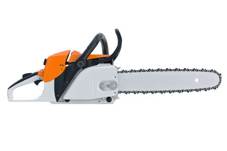 Chainsaw gasoline cutter machinery technology, side view. 3D rendering Stock Photo