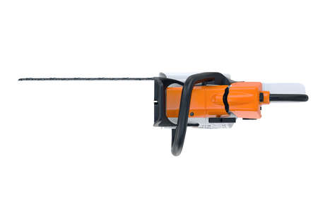 Chainsaw gasoline white metal and black plastic, top view. 3D rendering Stock Photo