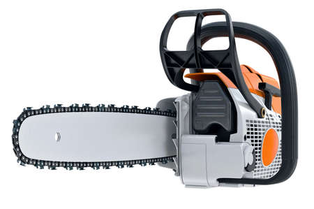 Chainsaw gasoline metal machine with power engine. 3D rendering Stock Photo