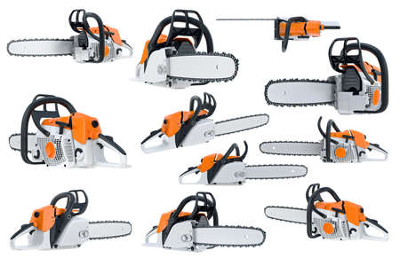 Chainsaw gasoline orange, white and black, modern style set. 3D rendering