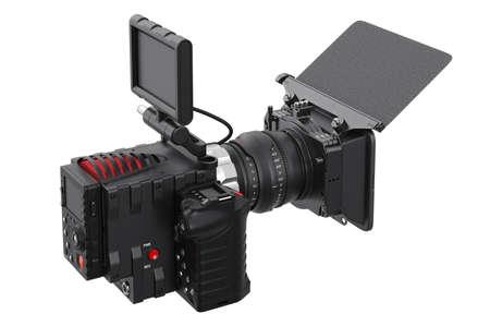 black professional: Camera video black professional camcorder. 3D rendering Stock Photo