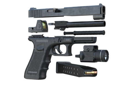 defense: Gun weapon handgun military defense, disassembled. 3D rendering