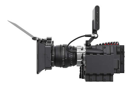 black professional: Camera video black professional, side view. 3D rendering Stock Photo