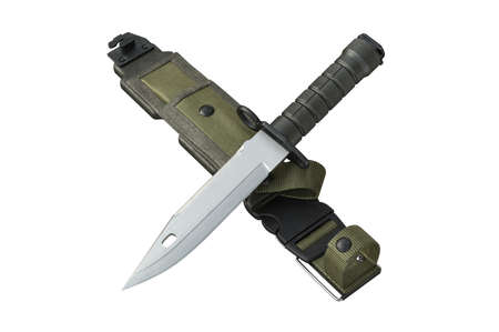 Knife army military with sharp blade and green sheath. 3D rendering