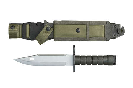 sheath: Knife army sheath and pointed sharp edge, top view. 3D rendering