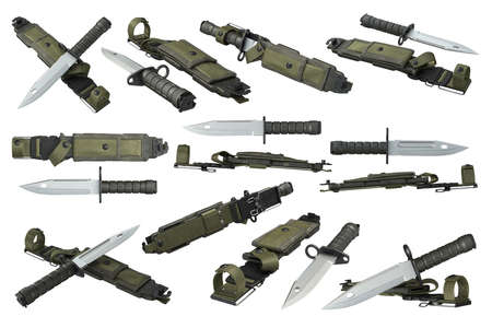 sheath: Knife army military with sharp blade and green sheath set. 3D rendering
