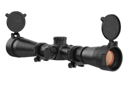 scope: Scope optical military device with glass lens. 3D rendering