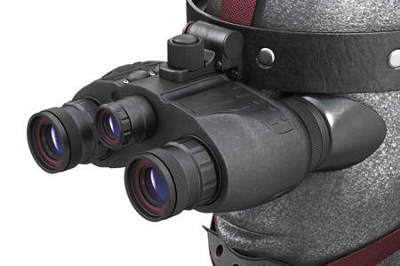 night view: Night vision army equipment infantry wearing, close view. 3D rendering
