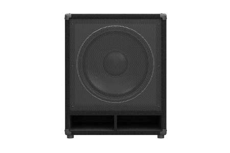 black professional: Speaker audio black professional equipment, front view. 3D rendering