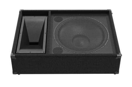 Speaker audio woofer heavy amplifier, front view. 3D rendering