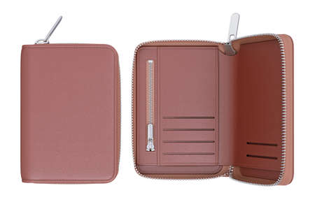 leather bag: Wallet leather personal modern bag, top view. 3D rendering