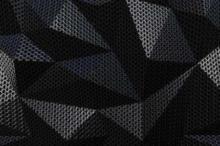 metallic: Metallic chain armor abstract geometric polygonal background. 3D rendering Stock Photo