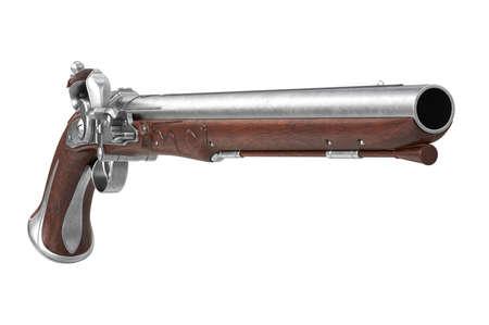 dueling: Pistol gun antique historical firearm. 3D rendering