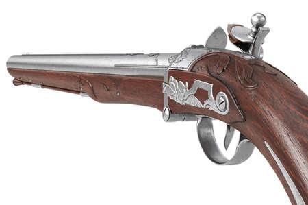 Pistol gun retro flintlock army protection, close view. 3D rendering