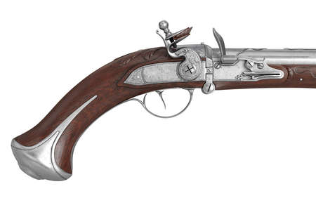 dueling pistol: Pistol gun dueling weapon old-fashioned historical, close view. 3D rendering Stock Photo