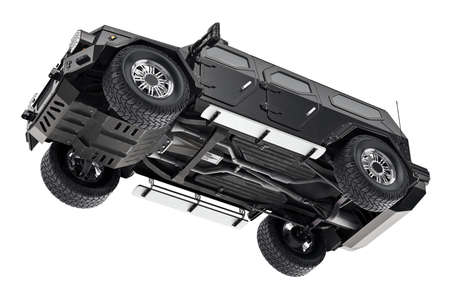 Suv car black suspension, bottom view. 3D rendering Фото со стока