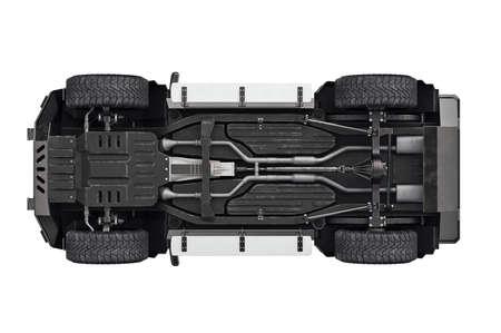 Suv car transport 4wd suspension, bottom view. 3D rendering Stock fotó